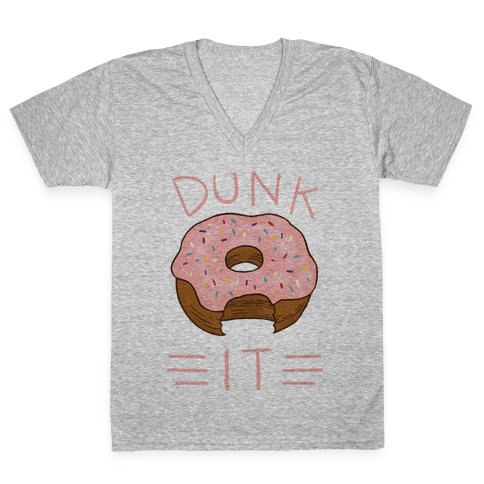 Dunk It (Donut) V-Neck Tee Shirt