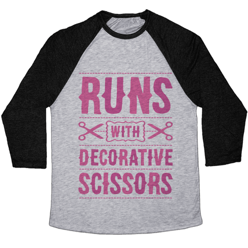 Runs With Decorative Scissors Baseball Tee