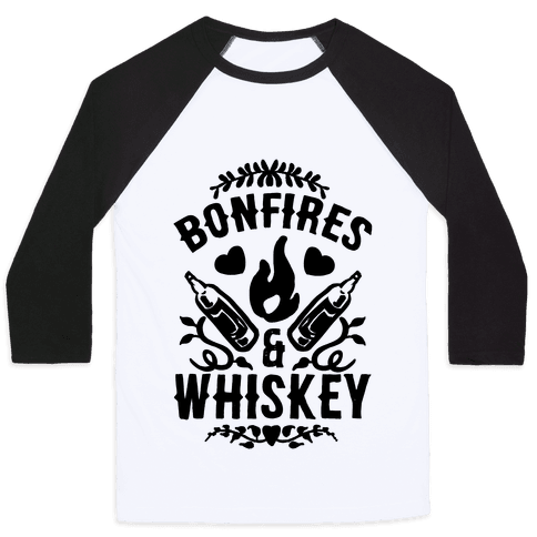 Bonfires & Whiskey Baseball Tee