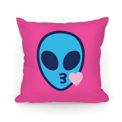 Blowing Kiss Alien Emoji Pillow