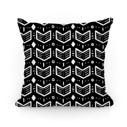 Black and White Tribal Doodle Pattern Pillow