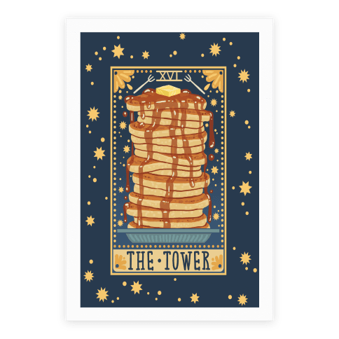Tarot Card: The Tower (Of Pancakes) Poster