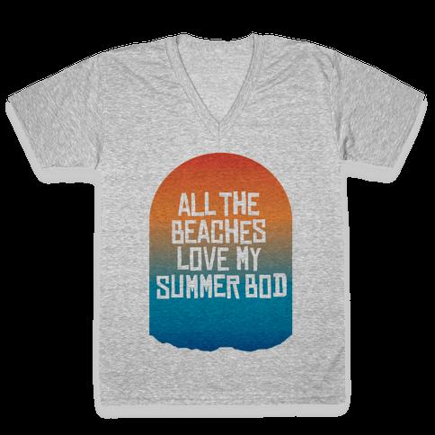 All the Beaches V-Neck Tee Shirt