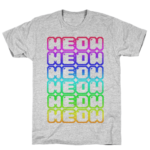 Meow Rainbow Mens T-Shirt