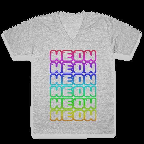 Meow Rainbow V-Neck Tee Shirt