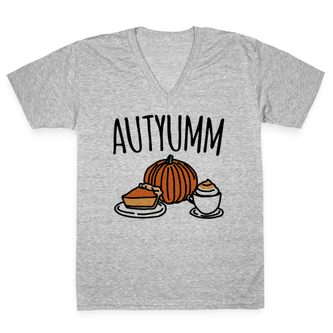 Autyumm Autumn Foods Parody V-Neck Tee Shirt