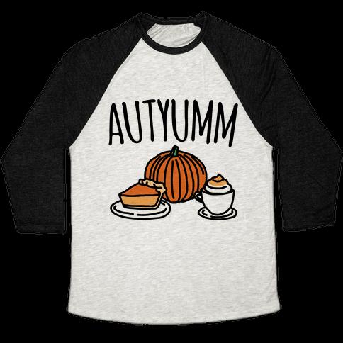 Autyumm Autumn Foods Parody Baseball Tee