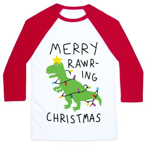 Merry Rawring Christmas Dinosaur Baseball Tee