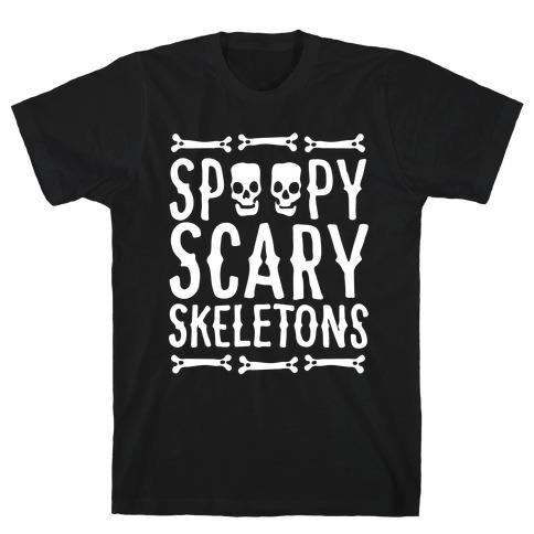 Spoopy Scary Skeletons Parody White Print T-Shirt