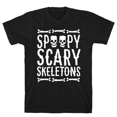 Spoopy Scary Skeletons Parody White Print T-Shirt