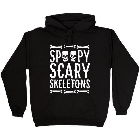 Spoopy Scary Skeletons Parody White Print Hooded Sweatshirt