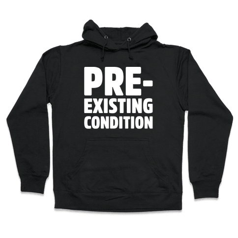 Pre-Existing Condition White Print Hooded Sweatshirt