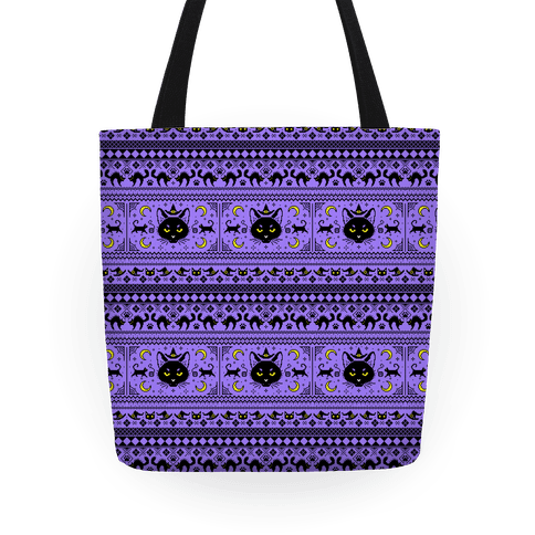 Witchy Black Cats Ugly Sweater Tote