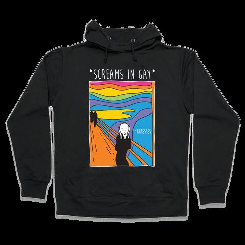 Screams In Gay Edvard Munch Parody Hooded Sweatshirt