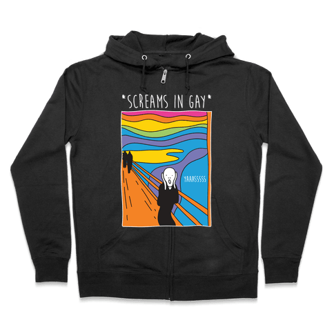 Screams In Gay Edvard Munch Parody Zip Hoodie