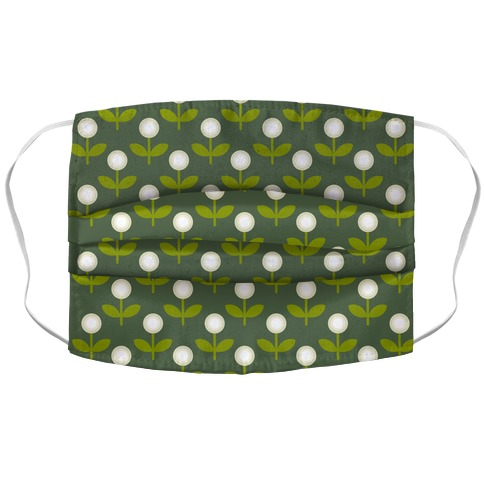 Dainty Retro Dandelions Green Pattern Accordion Face Mask