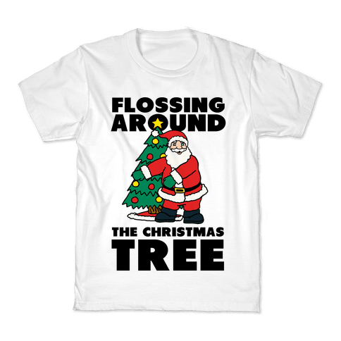 Flossing Around the Christmas Tree Kids T-Shirt