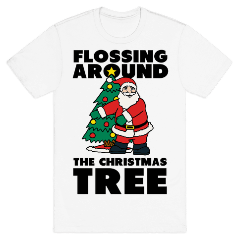 Flossing Around the Christmas Tree Mens T-Shirt