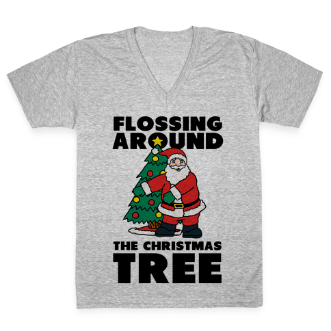 Flossing Around the Christmas Tree V-Neck Tee Shirt