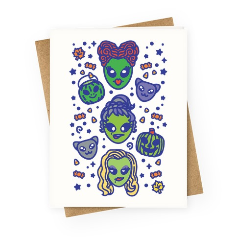 Witch Alien Sisters Parody Greeting Card
