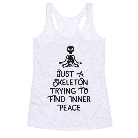 Skeleton Peace Racerback Tank Top
