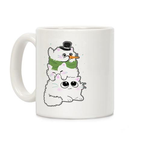 Cat Stack Snowman Coffee Mug