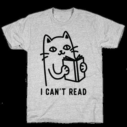 I Can't Read Cat Mens T-Shirt