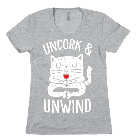 Uncork And Unwind Yoga Cat Womens T-Shirt