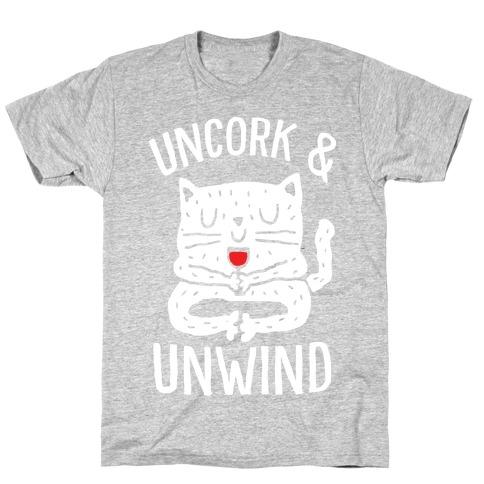 Uncork And Unwind Yoga Cat T-Shirt