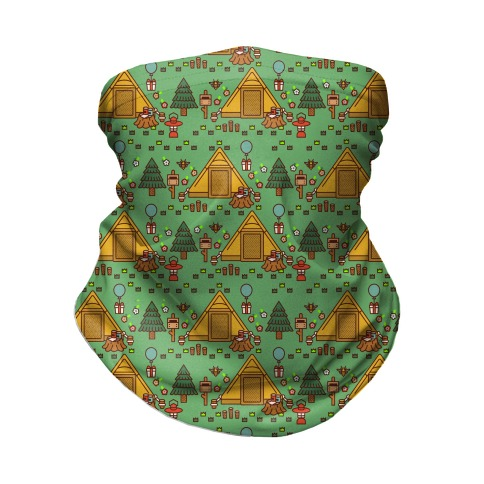 Yellow Tent Glamping Pattern Green Neck Gaiter