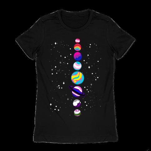 LGBTQ+ Planets Womens T-Shirt