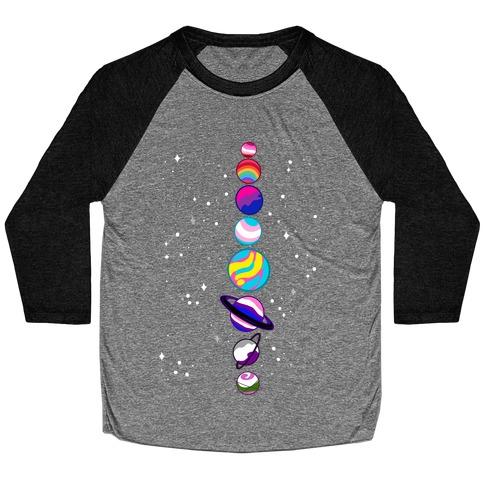LGBTQ+ Planets Baseball Tee