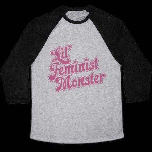 Lil' Feminist Monster Parody Baseball Tee