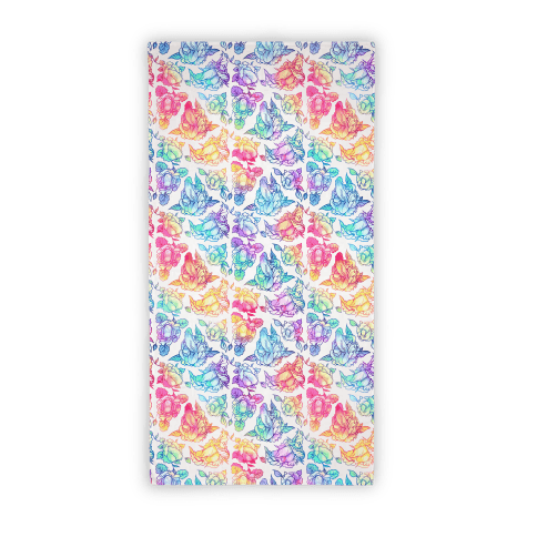 Floral Penis Pattern Rainbow Beach Towel