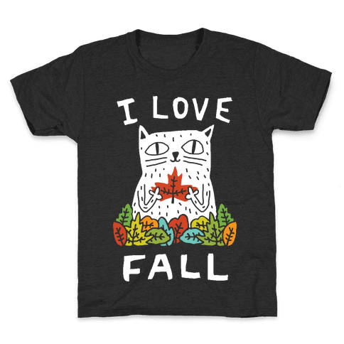I Love Fall Cat Kids T-Shirt