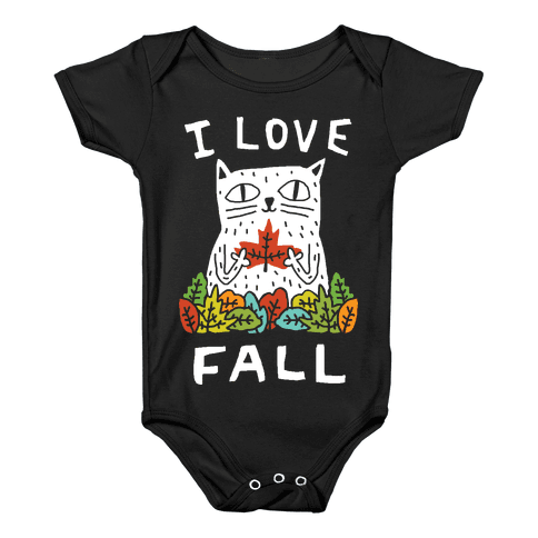 I Love Fall Cat Baby Onesy