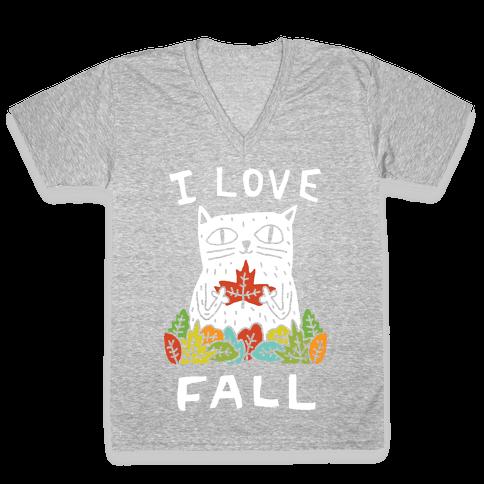 I Love Fall Cat V-Neck Tee Shirt