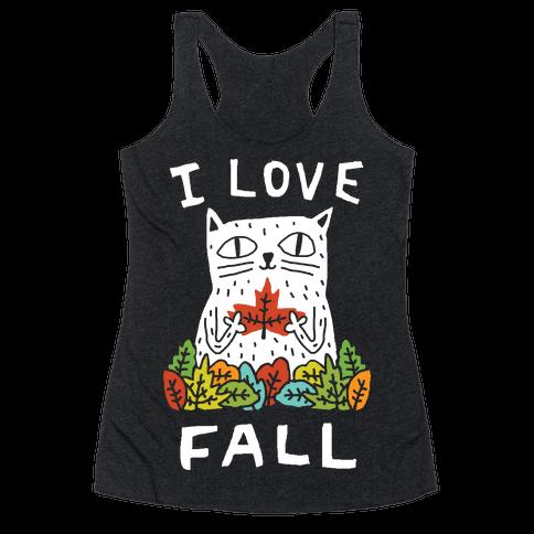I Love Fall Cat Racerback Tank Top