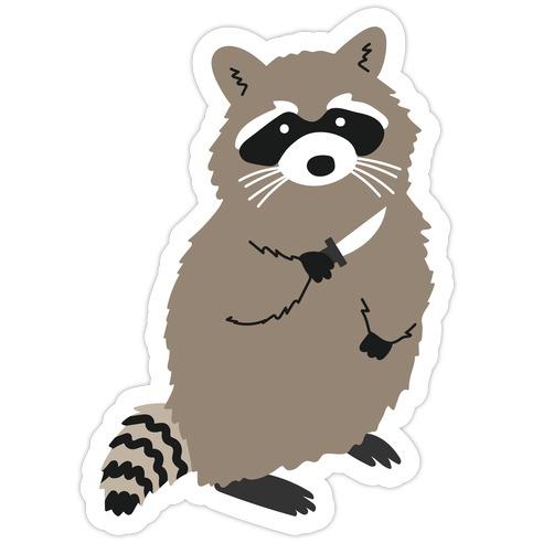 Raccoon With Knife Die Cut Sticker