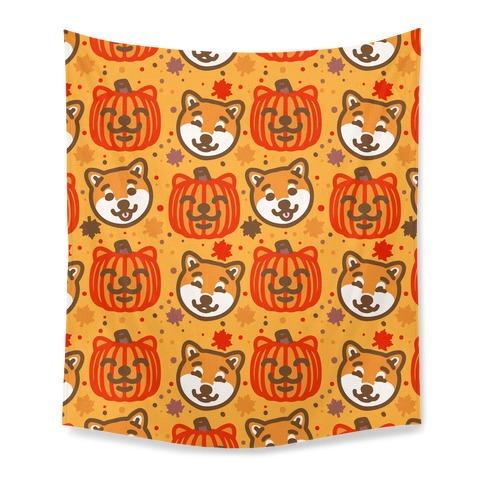Shiba Inu Pumpkins Tapestry