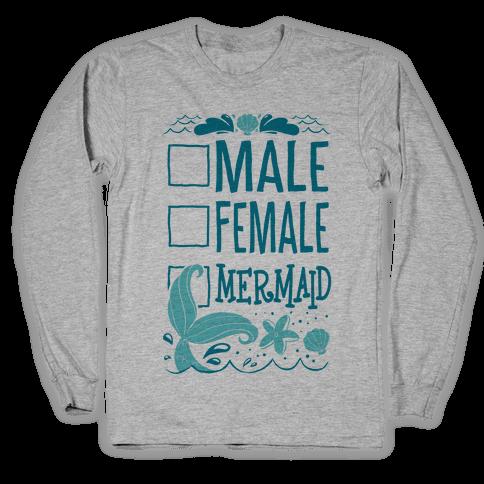 Male, Female, Mermaid Long Sleeve T-Shirt