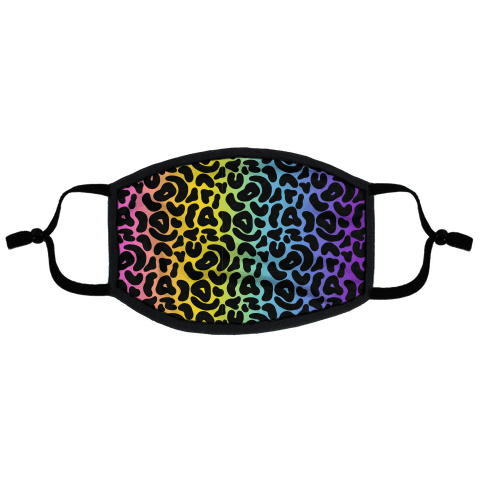 Rainbow Cheetah Print Flat Face Mask