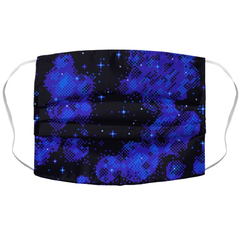 Pixelated Blue Nebula Accordion Face Mask