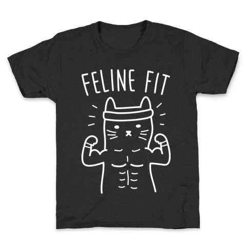 Feline Fit (White) Kids T-Shirt