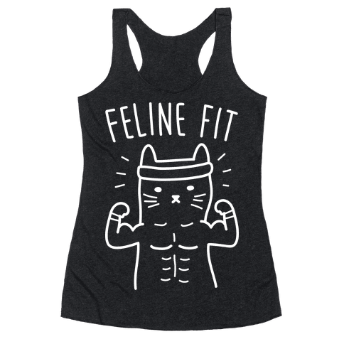 Feline Fit (White) Racerback Tank Top