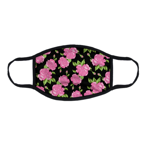 Black and Pink Floral Pattern Flat Face Mask