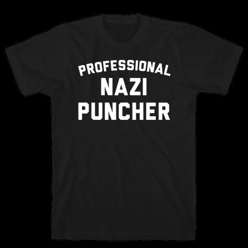 Professional Nazi Puncher White Print Mens T-Shirt