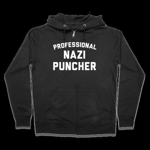 Professional Nazi Puncher White Print Zip Hoodie