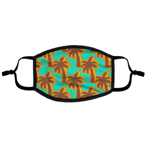 Retro Palm Pattern Flat Face Mask