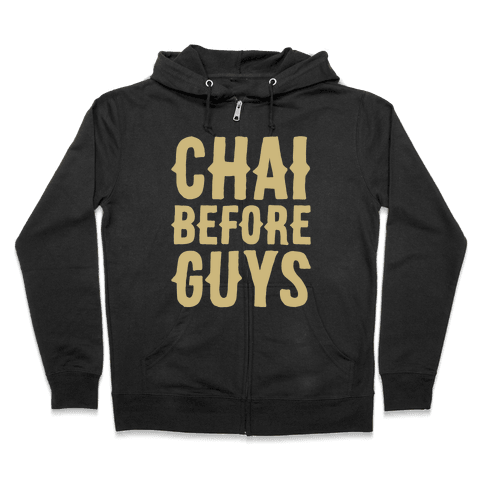 Chai Before Guys White Print Zip Hoodie